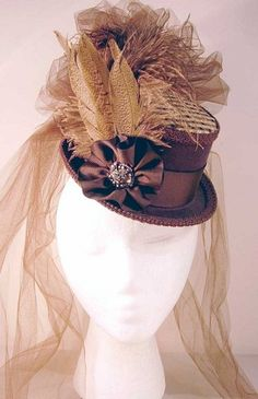 z SOLD - Ladies' Petite Victorian Top Hat - Brown and Gold on Brown