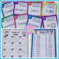 True or False Equations Scoot or Task Cards Math For Kids, Fun Math, Math Activities, Maths, Activity Centers, Math Centers, Concrete And Abstract Nouns, Third Grade Math, Grade 1