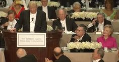 Trump openly mocks Killery, Hitlery, Hillary (what difference does it make anyway...) at a Catholic charity function and even His Eminence is laughing. It is perhaps the BEST Trump has ever done! ~@guntotingkafir God bless Mr Trump and God bless America!!!