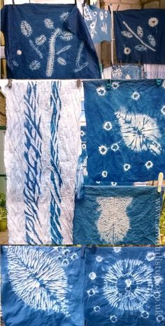 A beautiful collection of Indigo dyed shibori designs produced by many of the creative individuals on workshops run by Annabel Wilson of Townhill Studio in Dorset.