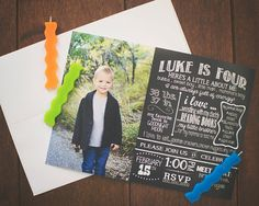All About Me Chalkboard Birthday Invitation - Personalized - Digital - 5x7