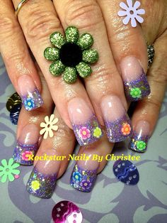 #rockstar_nails_by_christee #nails #acrylics #springtime #flowers #inlays