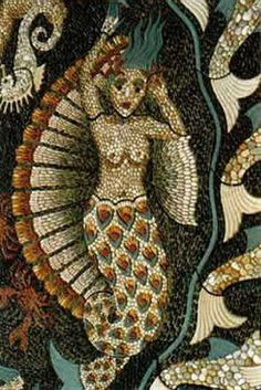 Just another idea - thought maybe nice to have a mermaid in my garden! I like her hair in this image Mosaic Flower Pots, Mosaic Pots, Ceramic Mosaic Tile, Pebble Mosaic, Stone Mosaic, Pebble Art, Mosaic Glass, Mosaic Garden, Stained Glass