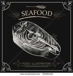 Hand drawn fish steak isolated on chalkboard. Seafood sketch vector illustrator. Retro style