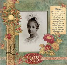 1918 ~ Beautiful heritage portrait page with hand cut border and flowers.