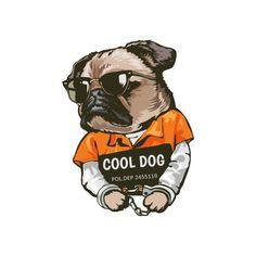 Shop ledyfre on Threadless Prison, Pug Illustration, Cute Pugs, Pug Life, Dog Design, Sticker Design, Iphone Case Covers, Best Dogs, Funny Stickers