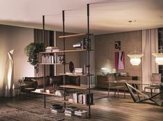 Sectional floor-ceiling mounted bookcase AIRPORT by Cattelan Italia | design Giorgio Cattelan