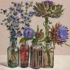 Globe Artichokes and Sea Holly - Lucy Culliton Oil on canvas,