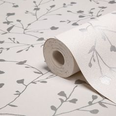 Silhouette Floral White & Silver Effect Wallpaper | Departments | DIY at B&Q