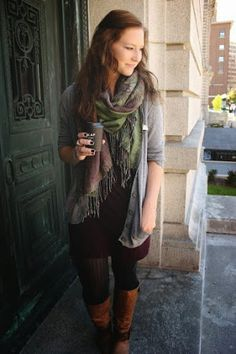 Autumn outfit. Fall inspiration. Scarves & boots!