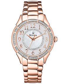 Bulova Watch, Women's Rose Gold-Tone Stainless Steel Bracelet 33mm