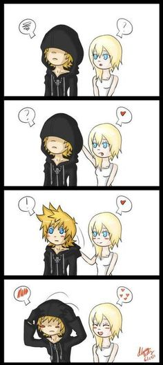 Roxas and Namine; 'I can't see anything...wha--' fwip '...I got hat hair.'