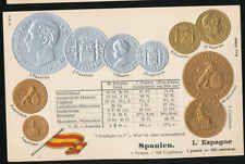 Spanien   Spain  Ansichtskarte  Prägekarte  Münzen   Silber + Gold   Peseta