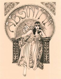 "Theda Bara Absinthe Fairy  Art Nouveau Print-- Fits 8.5x11"" Frame. $5.00, via Etsy."
