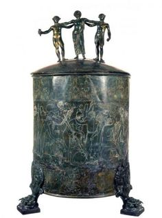 Etruscans - Cista Ficoroni. 350-330 BC Rome, National Etruscan Museum of Villa Giulia. Container in bronze depicts an episode in the saga of the Argonauts.