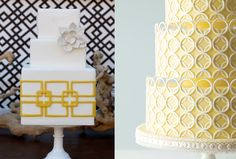 Love the art deco vibe of these cakes! Left cake by the Sweet & Saucy Shop and right cake via Me and you Look Book.