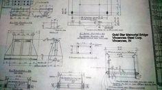 Fabrication drawing at Vincennes Steel Corporation for Gold Star Memorial Bridge. Gold Star Memorial Bridge in Groton-New London, Connecticut crossing the Thames River.