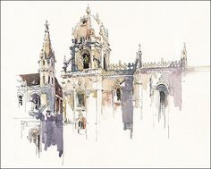 "Art Print on Watercolor Paper - Historic  Lisbon - Urban Sketching - Plein Air Painting - Marc Taro Holmes - Jerónimos Monastary - 8x10"""