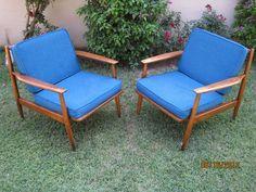 Pair Mid Century Danish Modern LARSEN SELIG Style VIKO BAUMRITTER Lounge Chairs   eBay
