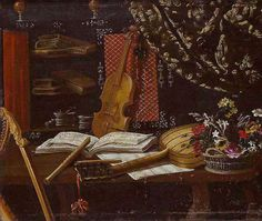 Still-life with Musical Instruments (late 17th century), oil on canvas, 102 × 128 cm, Italian (Bergamo). Milan: Private Collection; offered for sale by Bigli (2003). Ref. Bigli Art Broker (2003 – col.); Website: flautotaverso.it (2007 – col.) Beneath a drape, a harp leans against a table on which are music scores, a basket of flowers, a violin, a guitar, and two recorders tapering, flared-bell recorders of soprano and alto size. Behind, on a shelf are two marble spheres, books, and an…