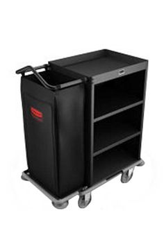 Single Housekeeping Cart with 4 shelves, Deluxe: Maid Trolley with 4 shelves and 1 cleaning bag