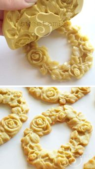 How to make molded cookies (Sweetambs). Gorgeous!  Biscoitos em molde de silicone! lindo!