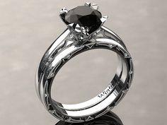 Diamante natural negro anillo de compromiso por WinterFineJewelry