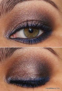 gold & navy smoky eye