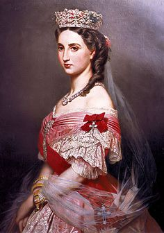 Charlotte, Princess of Belgium, Archduchess of Austria, Carlota, Empress Consort of Mexico; by Franz Xaver Winterhalter, c. 1864. Her father was Leopold I, King of Belgium. She would later marry Maximilian I, Emperor of Mexico, Archduke of Austria.