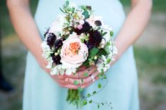 in love with this bouquet, but also as inspiration for table - blackberries, blush colored flowers, and thyme?