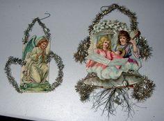 Vintage Christmas 2 Scrap & Tinsel Ornaments Angels GERMANY Victorian 1900s | eBay