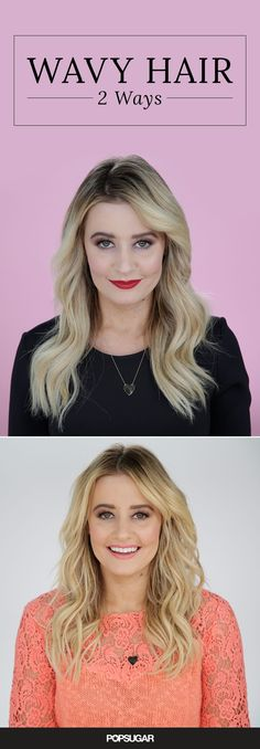 "Not all waves are created equal! Polished, sleek, Old Hollywood waves are perfect for work, taking meetings, or a fancy night out, while beach waves are the perfect ""I'm carefree and fabulous!"" daytime look or create a sexy, edgy look with texture for a night of dancing. Learn how to DIY both styles with one curling iron using this easy hair tutorial!"