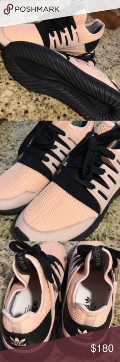 "Adidas Trainers My husband custom made these for me. So sad they don't fit. They are an 8.5 women's. Blush pink and black. They say ""no pain no gain"" in the third photo  Worn once. adidas Shoes Athletic Shoes"
