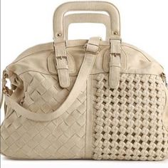 """Urban Expressions Women Satchel $25 on Merc NO TRADES NO LOWEST. SELLS FOR $25 on Ⓜ️ERCARI. Worn once, color is cream, pristine; absolutely no wear, tear or spots anywhere. Size is 19""""Lx14""""x4.5""""W, removable shoulder strap & roomy inside.  You also get a dust bag. Questions welcomed;including request for additional pics.  *TO AVOID SCAMMERS, ALL ITEMS WILL BE VIDEOTAPED WHILE BEING PACKED AT THE POST OFFICE* Urban Expressions Bags Satchels"""