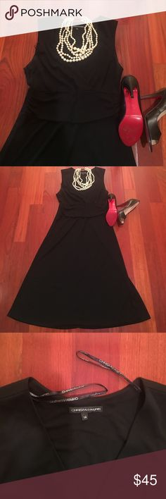 Beautiful chris mcglaughlin black dress Designer black dress v neckline, by Chris mcglaughlin. In excellent condition. Worn for an event. Size 14 with stretch if needed. Chris Mcglaughlin Dresses Midi
