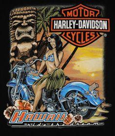 Harley Davidson Hawaii Tiki Motorbike Mens XL T-Shrit Free Shipping