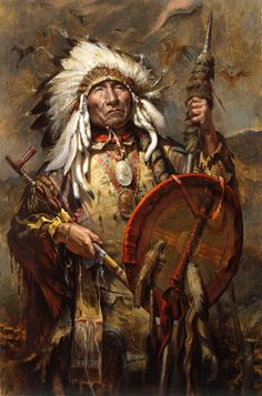 Old Chief! Native American Art. Artist Unknown.