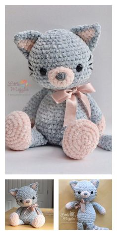 Educational and interesting ideas about amigurumi, crochet tutorials are here. Crochet Teddy Bear Pattern, Crochet Animal Patterns, Crochet Bear, Crochet Patterns Amigurumi, Cute Crochet, Crochet Animals, Crochet Dolls, Crochet Cat Toys, Crochet Doll Pattern