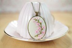 Pink Cherry Blossoms Silk Ribbon Flowers on 100% Thai Silk
