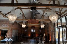 Chandeliers at Wasing Park Castle Barn. For wedding glamour. Event Lighting, Lighting Design, Track Lighting, Large Chandeliers, Crystal Chandeliers, Wasing Park, Glamorous Wedding, Fairy Lights, Lanterns
