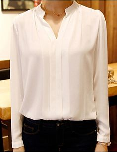 Elegant chic women V neck white blouse at just $5.69. Enjoy up to 85% discounts to all categories!