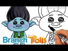 nice How to Draw Branch from Trolls Movie step by step Cute and Easy