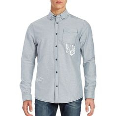 Billionaire Boys Club Mantra Graphic Button Collar Shirt ($127) ❤ liked on Polyvore featuring men's fashion, men's clothing, men's shirts, men's casual shirts, sky blue, mens longsleeve shirts, mens long sleeve shirts, mens long sleeve pocket t shirts, mens long sleeve cotton shirts and mens long sleeve graphic t shirts