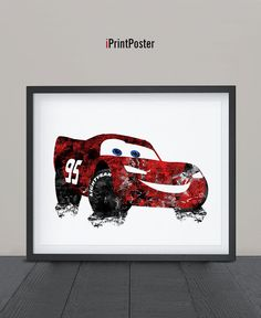 McQueen poster McQueen print Disney cars Cars by iPrintPoster