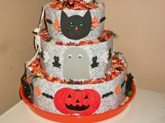 baby shower 3tier halloween diaper cake by free shipping