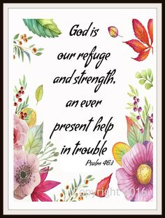 """""""God is Our Refuge"""", Wall Decor, Unframed Printed Art Print Poster, Scripture Print, Motivational Quote"""