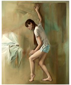 Chinese artist Li Wentao's work is theatrical. It's not just way the artist stages the lone character, a young, fragile woman, always barefoot… Chinese Contemporary Art, Chinese Art, Realistic Paintings, Nature Paintings, Artist Painting, Figure Painting, Portrait Art, Portraits, Artist At Work