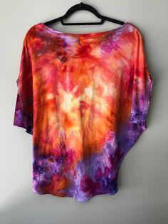 Tie-Dye Clothing Tie Dyed Top Hand Dyed Clothing Orange and Purple Tie-Dye Crop Top Desert Flower Ice Dye Crop Top Size Medium
