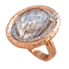 Platinum Rutilated Quartz Diamond Gold Crushed Frame Ring | From a unique collection of vintage cocktail rings at https://www.1stdibs.com/jewelry/rings/cocktail-rings/