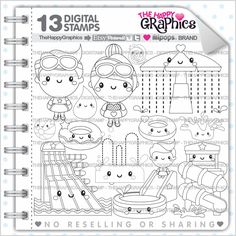 Pirate Stamp Commercial Use Digi Digital Image Digistamp Party Coloring Page Sea